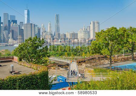 NEW YORK, OCTOBER 5, 2013 - Squibb Bridge near Brooklyn Promenade, NYC