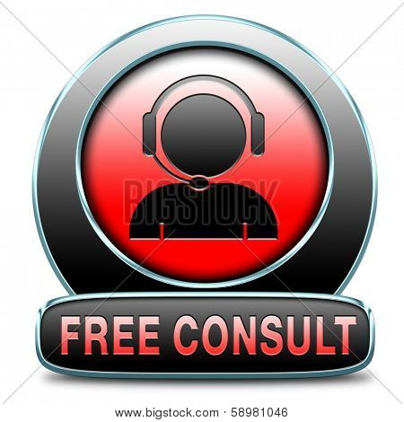 free consult icon or help and information desk button optimal customer support Gratis consultation service and advice.