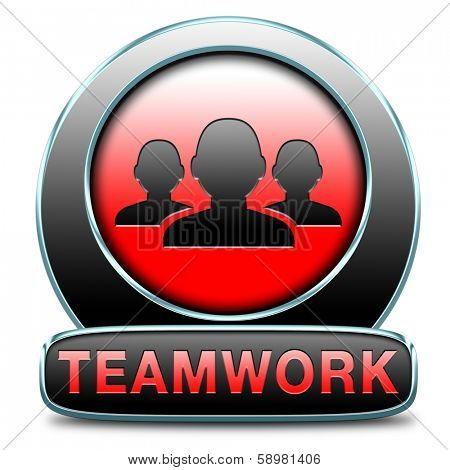 teamwork concept icon, team work and cooperation in partnership working together button