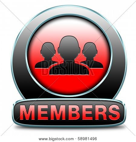 members only area icon sign or sticker become a member and join here to get your membership application label or button.