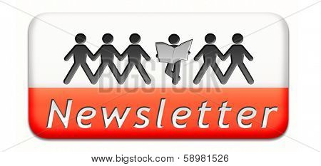 Newsletter with latest hot and breaking news. Icon button or sign illustration.