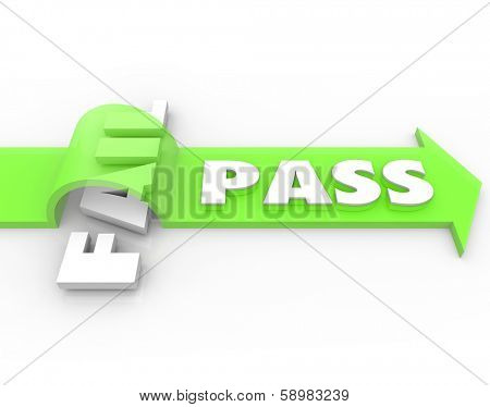 Pass Vs Fail Arrow Over Word Success Grade Exam Test