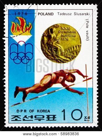 Postage Stamp North Korea 1976 Tadeusz Slusarski, Pole Vault
