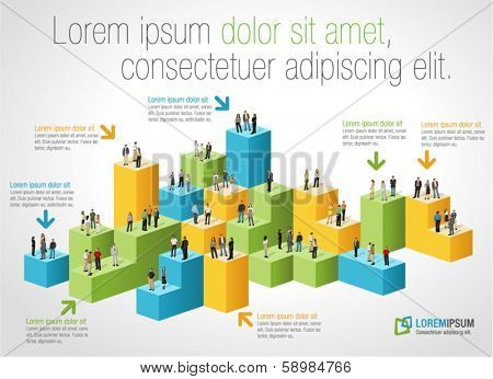 Template for advertising brochure with business people on bar chart
