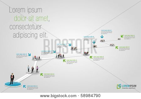 Template for advertising brochure with business people. Hiring selection.