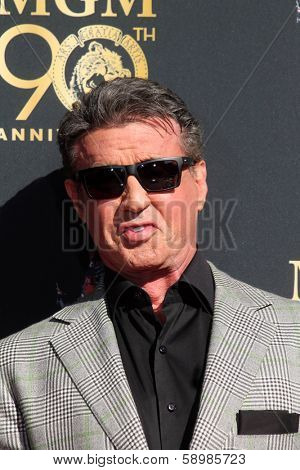 LOS ANGELES - JAN 22:  Sylvester Stallone at the MGM 90th Anniversary Celebration Kick-Off Event at TCL Chinese Theater on January 22, 2014 in Los Angeles, CA