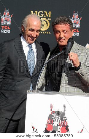 LOS ANGELES - JAN 22:  Gary Barber, Sylvester Stallone at the MGM 90th Anniversary Celebration Kick-Off Event at TCL Chinese Theater on January 22, 2014 in Los Angeles, CA
