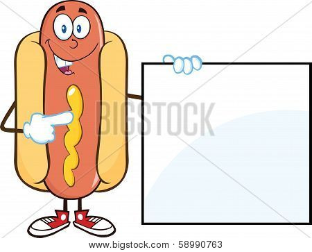 Happy Hot Dog  Cartoon Mascot Character Standing With A Sign