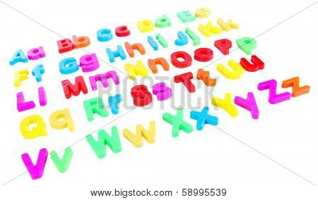 Colorful magnetic letters isolated on white