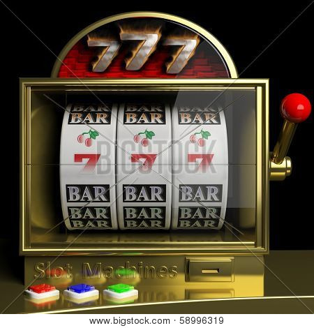 Gold slot fruit machine with 777 and cherries winning