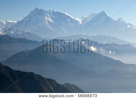 Blue Horizons - View Of Annapurna Himal From Jaljala Pass - Nepal - Asia