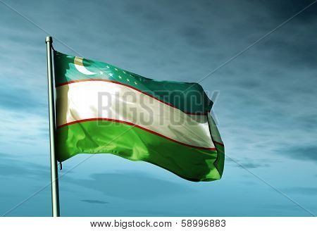 Uzbekistan flag waving on the wind