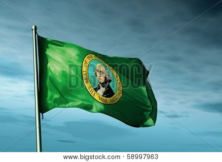 Washington (USA) flag waving on the wind