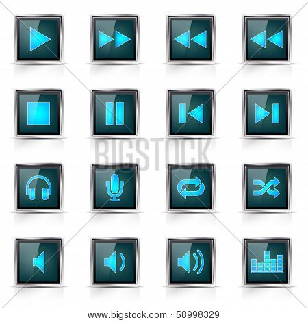 Set of glass web music icons