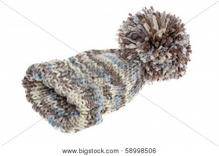 Warm Woolly Winter Hat With A Huge Pompom