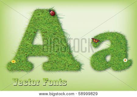 Grass font letter vector