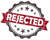 stock photo of rejection  - REJECTED red grunge vintage seal isolated on white - JPG