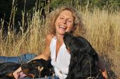 Laughing Woman And Dogs