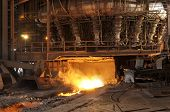 foto of blast-furnace  - Blast furnace ignition taken at steel manufacturing industry - JPG