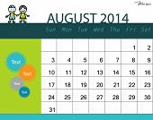 stock photo of august calendar  - Simple 2014 calendar - JPG