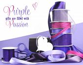 Bright Colorful Purple Theme Gift Wrapping With Ribbons, Bows, Gift Tags, Scissors, And Wrapping Pap