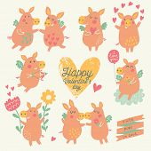 image of baby pig  - Nine cute pigs angels with hearts - JPG