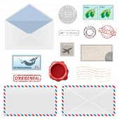 Set of Postal Business Icons, Envelopes, Stamps. Vector illustration.