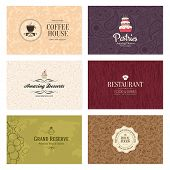 stock photo of restaurant  - Set of 6 detailed business cards - JPG