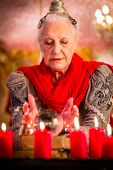stock photo of interpreter  - Female Fortuneteller or esoteric Oracle - JPG
