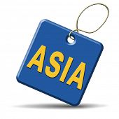 asia for travel and tourism vacation destination leading to asian continent button or icon  poster