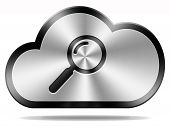 stock photo of clouds  - search cloud computing icon or button big data storage and find information in database - JPG