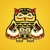 picture of tlingit  - Vector illustration of an owl - JPG