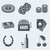 pic of poker machine  - Vector illustration of icons on a theme of gambling - JPG