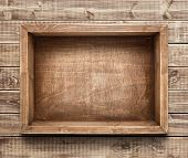 picture of wooden crate  - Empty wooden box on the table - JPG