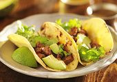 picture of tacos  - authentic mexican tacos with beef - JPG