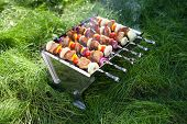 picture of brazier  - Grilled meat on sticks  - JPG
