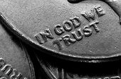 stock photo of treasury  - Coins of Silver American Money with words In God We Trust - JPG