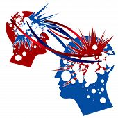picture of cerebrum  - Knowledge Transfer symbolically depicted in red and blue colors - JPG