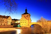 picture of regnitz  - The Old Town Hall of Bamberg Bavaria Germany inmidst the river Regnitz at night - JPG