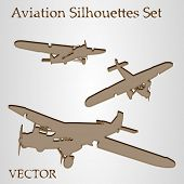 Vector set of brown paper planes or airplanes flying isolated on beige background