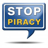 stock photo of stop fighting  - stop piracy and illegal copying copyright and intellectual property protection protect copy of trademark brand - JPG