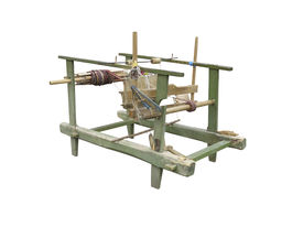 pic of handloom  - Vintage ancient wooden loom isolated over white background - JPG