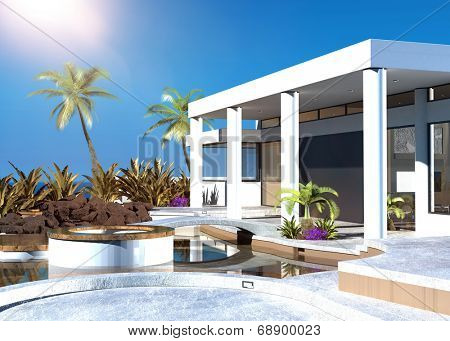 Modern coastal home with an outdoor patio with modular built in seating and palm trees overlooking the ocean on a hot tropical sunny day