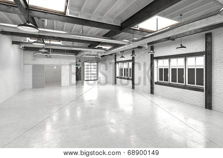 Modern office atrium or hall with a shiny white floor reflecting overhead lights with a row of windows along one wall