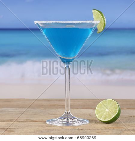 Blue Curacao Cocktail Drink On The Beach
