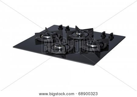 Black glass gas hob isolated on white with clipping path