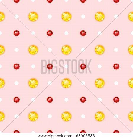 Seamless Pattern With Round Gemstones