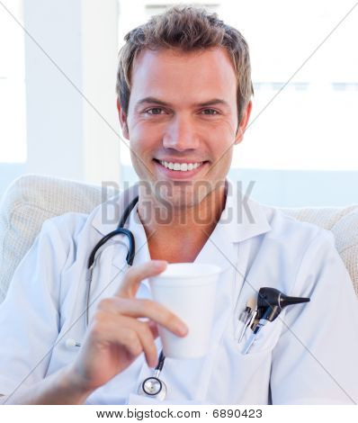 Positive Doctor Having A Break