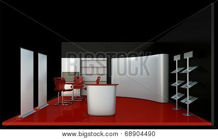 Render dark booth space