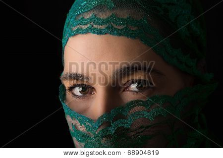 Middle Eastern Woman Portrait Looking Sad With Green Hijab Artistic Conversion